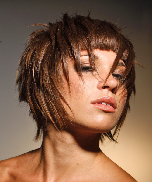 Short Straight    Chestnut Brunette   Hairstyle   - Side View