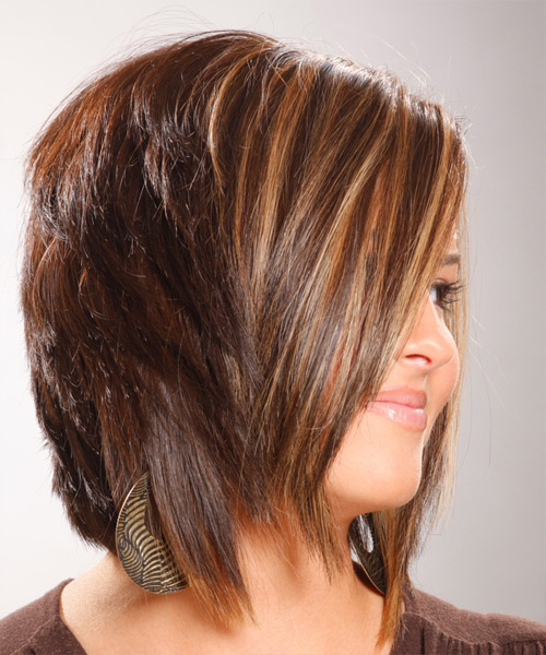 Medium Straight Formal   Hairstyle   - Light Brunette (Chocolate) - Side View