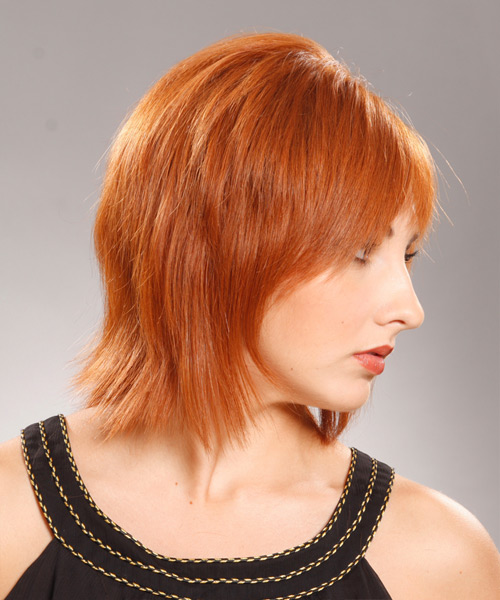 Medium Straight Formal    Hairstyle with Layered Bangs  - Medium Ginger Red Hair Color - Side View