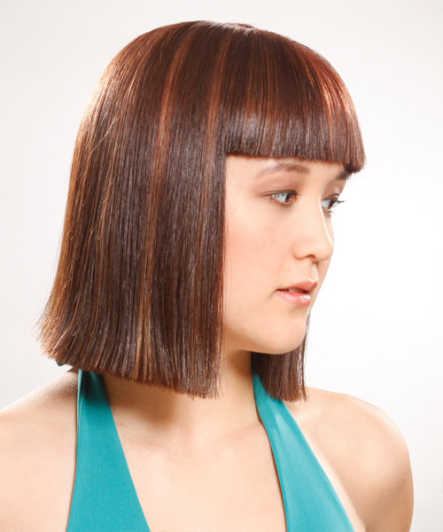 Medium Straight    Auburn Brunette   Hairstyle with Blunt Cut Bangs  - Side View