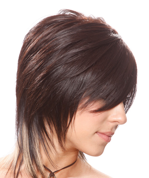 Medium Straight Alternative    Hairstyle with Side Swept Bangs  - Chocolate Hair Color - Side View