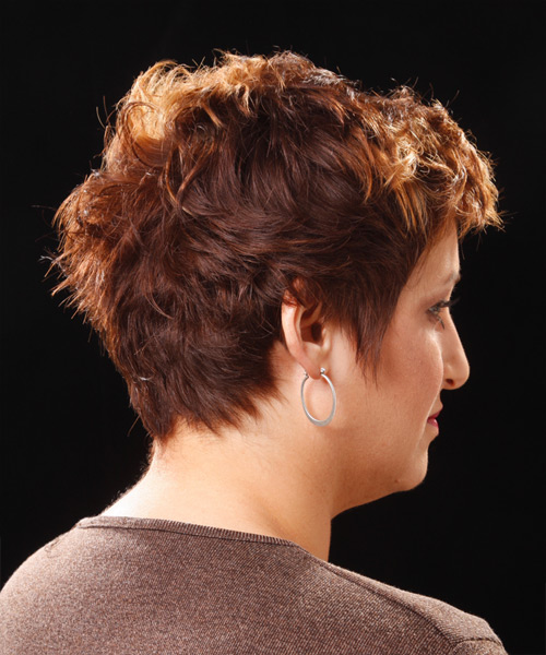Short Wavy    Copper Brunette   Hairstyle   - Side View