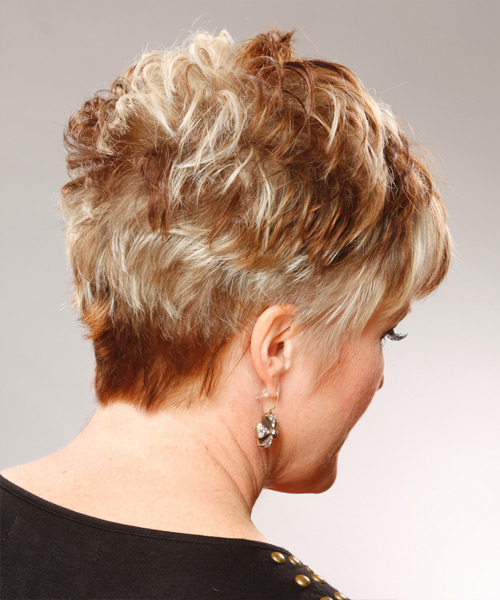 Short Straight   Dark Copper Blonde   Hairstyle   - Side View