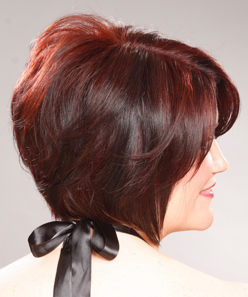 Medium Straight Formal   Hairstyle with Side Swept Bangs  - Medium Red (Burgundy) - Side View