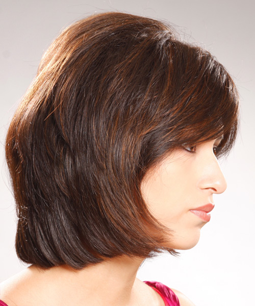 Medium Straight    Brunette Bob  Haircut with Side Swept Bangs  - Side View