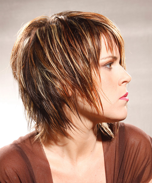 Medium Straight Alternative    Hairstyle with Layered Bangs  -  Caramel Brunette Hair Color with Light Blonde Highlights - Side View