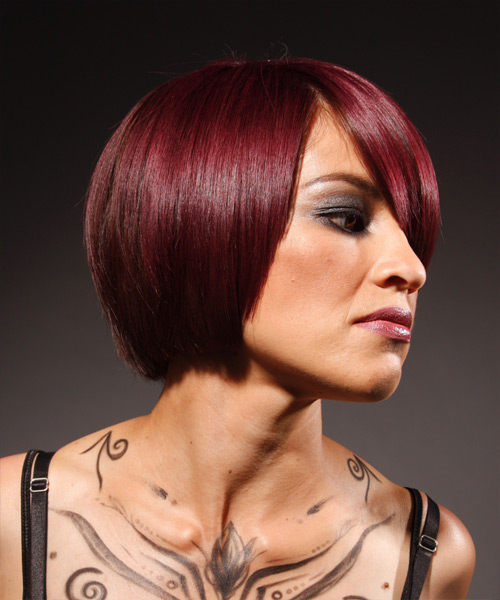 Medium Straight Alternative    Hairstyle   -  Red Hair Color - Side View