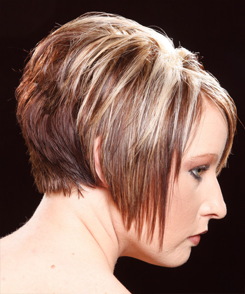Short Straight Casual    Hairstyle   - Dark Copper Blonde Hair Color - Side View