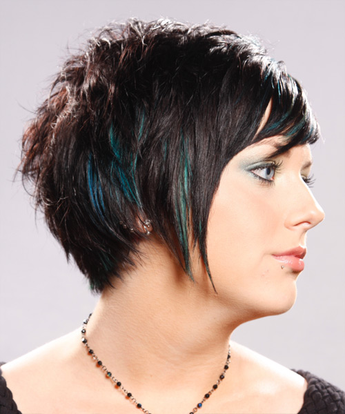 Short Straight   Dark Brunette   Hairstyle   with Green Highlights - Side View