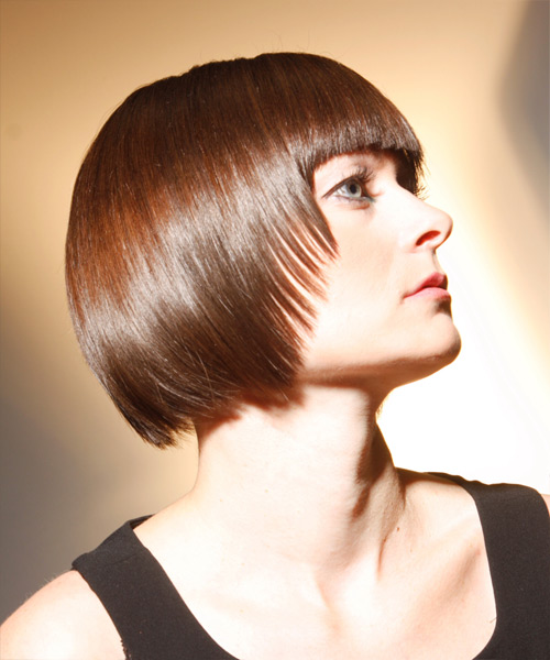Medium Straight   Light Chestnut Brunette   Hairstyle with Blunt Cut Bangs  - Side View