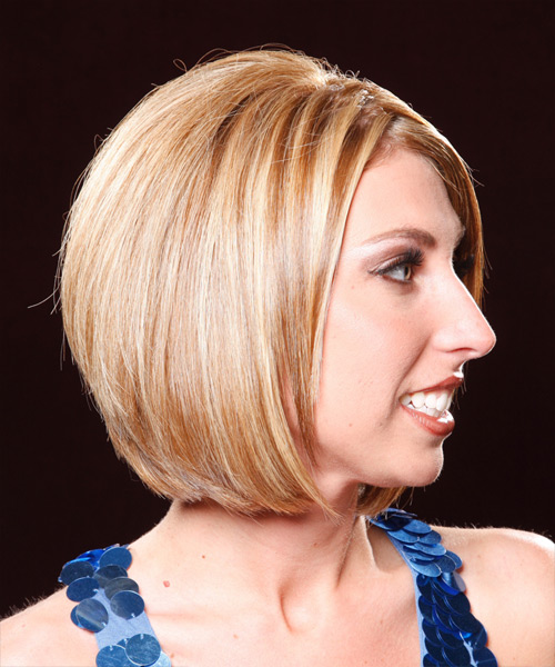 Medium Straight Formal  Bob  Hairstyle   - Dark Copper Blonde Hair Color with Light Blonde Highlights - Side View
