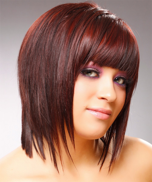 Medium Straight Layered   Red Bob  Haircut with Blunt Cut Bangs  - Side View