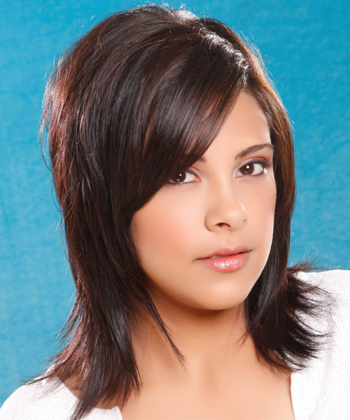 Long Straight   Dark Brunette   Hairstyle with Side Swept Bangs  - Side View