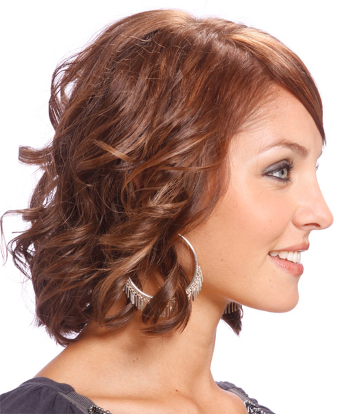 Medium Wavy Formal   Hairstyle with Side Swept Bangs  - Light Brunette (Chocolate) - Side View