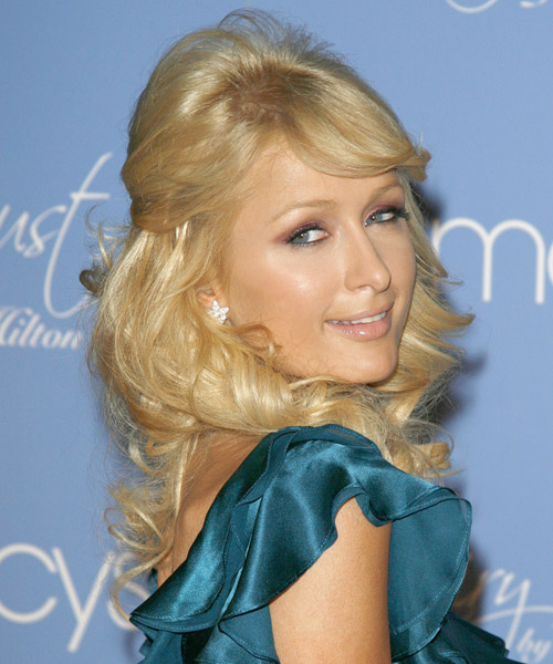 Paris Hilton Half Up Long Curly Formal  Half Up Hairstyle with Side Swept Bangs  - Light Blonde (Golden) - Side View