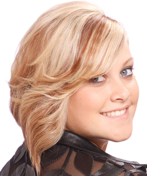 Medium Wavy Formal    Hairstyle with Side Swept Bangs  - Strawberry Hair Color - Side View