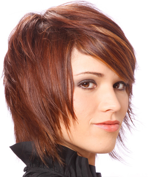 Medium Straight Alternative   Hairstyle with Side Swept Bangs  - Medium Red (Burgundy) - Side View