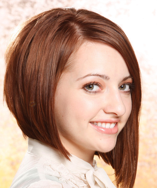 Medium Straight Alternative  Asymmetrical  Hairstyle   -  Auburn Brunette Hair Color - Side View