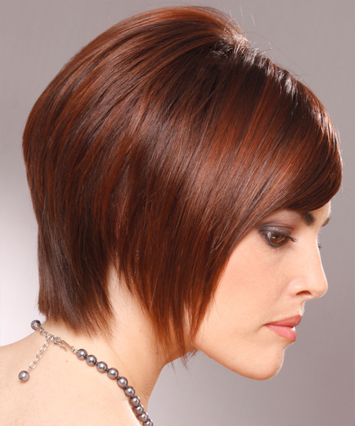 Short Straight Layered   Mahogany Brunette Bob  Haircut with Side Swept Bangs  - Side View