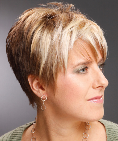 Short Straight Casual    Hairstyle with Layered Bangs  -  Copper Blonde Hair Color with Light Blonde Highlights - Side View