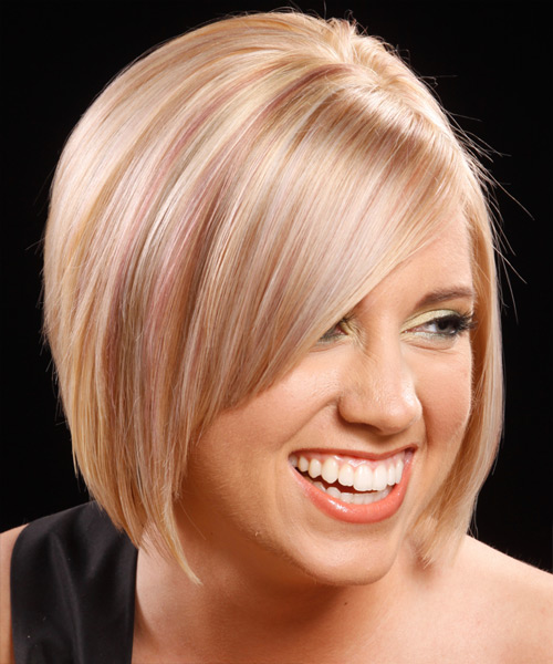 Medium Straight    Strawberry Blonde Bob  Haircut with Side Swept Bangs  - Side View