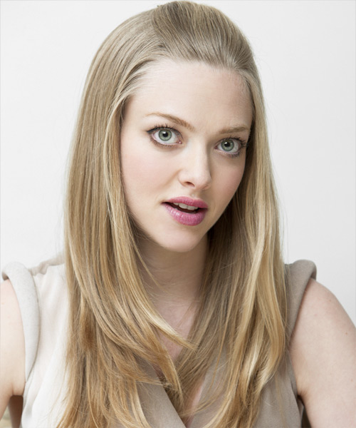 Amanda Seyfried Half Up Long Straight Casual  Half Up Hairstyle   - Side View