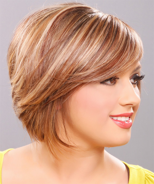 Medium Straight Formal   Hairstyle   - Dark Blonde (Golden) - Side View