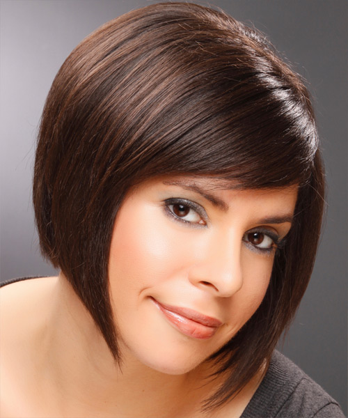 Medium Straight Formal   Hairstyle with Side Swept Bangs  - Dark Brunette (Mocha) - Side View