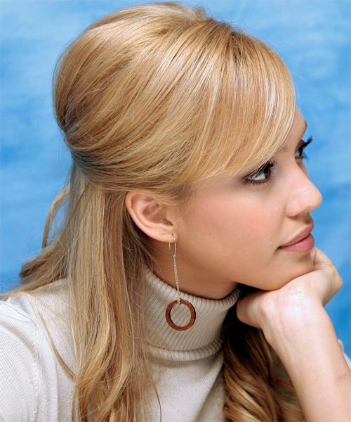 Jessica Alba Half Up Long Curly Formal  Half Up Hairstyle with Side Swept Bangs  - Side View