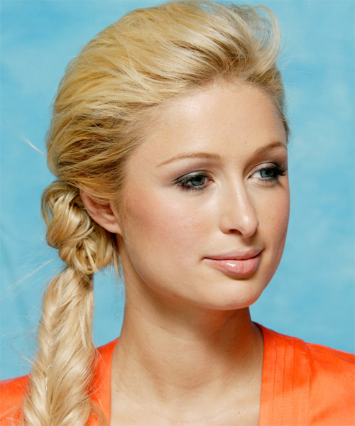 Paris Hilton  Long Curly Casual  Braided Updo Hairstyle   - Side View