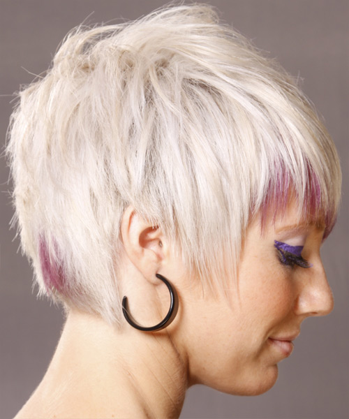 Short Straight   Light White Blonde   Hairstyle   with Pink Highlights - Side View