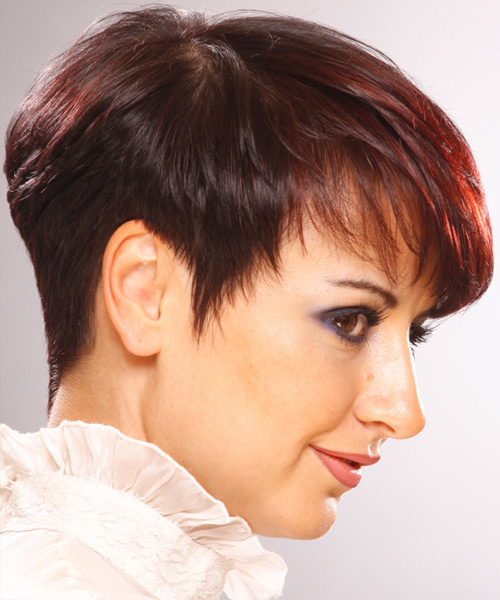 Short Straight Formal    Hairstyle with Layered Bangs  -  Burgundy Red Hair Color - Side View