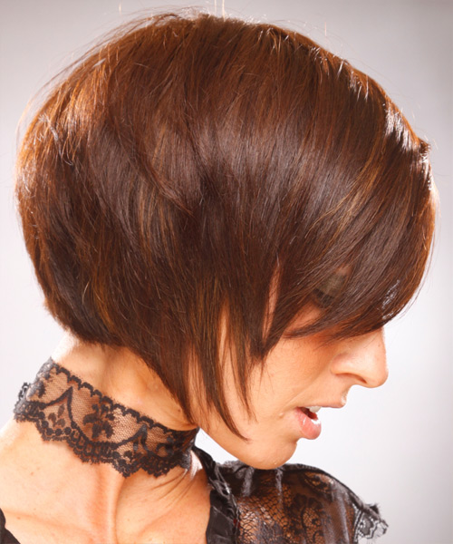 Medium Straight   Bob  Haircut   - Side View
