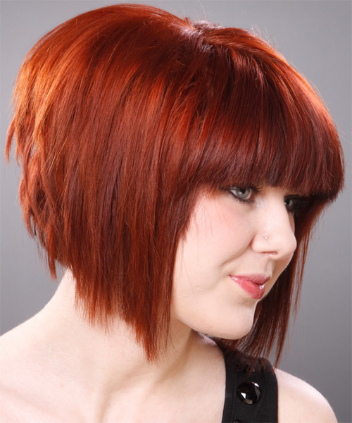 Medium Straight Layered   Ginger Red Bob  Haircut with Blunt Cut Bangs  - Side View