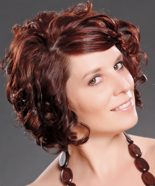 Medium Curly Formal   Hairstyle with Side Swept Bangs  - Dark Red (Burgundy) - Side View