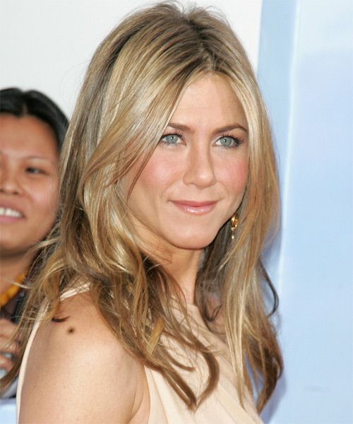 Jennifer Aniston Long Straight   Dark Ash Blonde   Hairstyle   - Side View