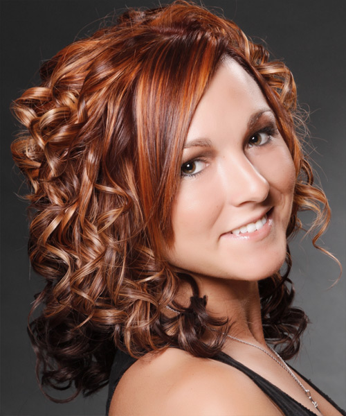 Medium Curly Formal   Hairstyle with Side Swept Bangs  - Medium Brunette (Mahogany) - Side View