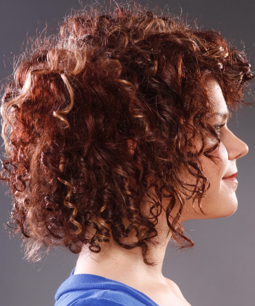 Medium Curly     Hairstyle   - Side View
