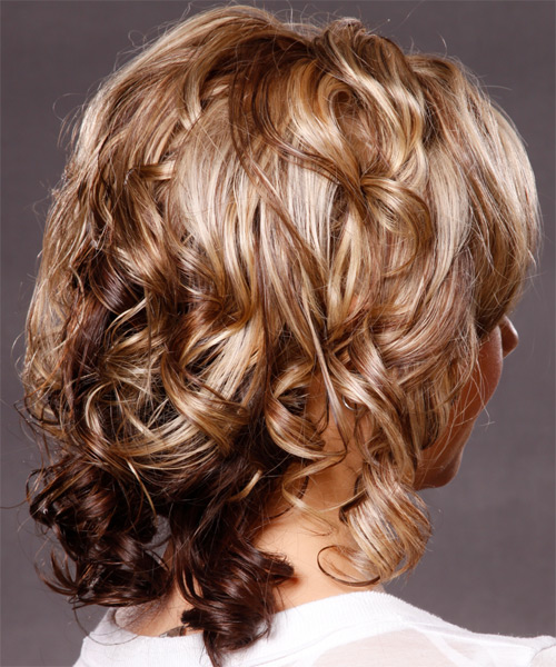 Medium Curly   Dark Blonde   Hairstyle   with Light Blonde Highlights - Side View