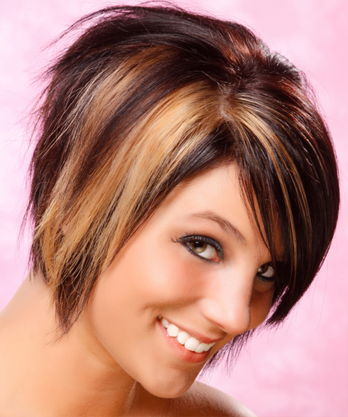 Short Straight   Dark Burgundy Brunette   Hairstyle   with  Blonde Highlights - Side View