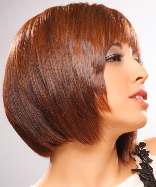 Medium Straight    Ginger Brunette Bob  Haircut   - Side View