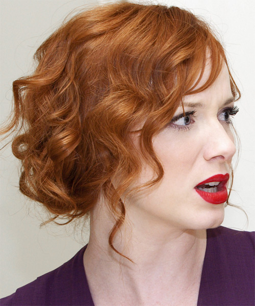 Christina Hendricks  Long Curly   Light Ginger Red  Updo    - Side View