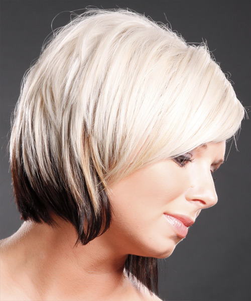 Short Straight   Platinum and Dark Brunette Two-Tone   Hairstyle with Side Swept Bangs  - Side View