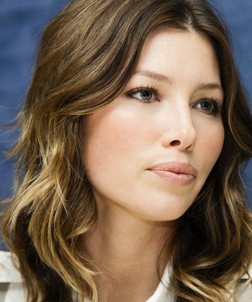 Jessica Biel Long Wavy Casual   Hairstyle   - Dark Brunette - Side View