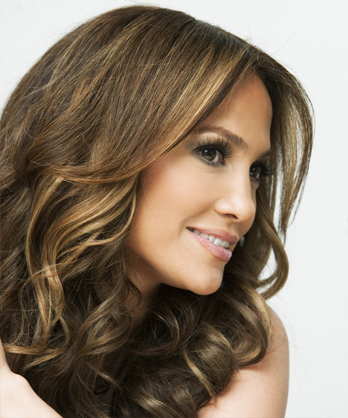 Jennifer Lopez Long Wavy    Brunette   Hairstyle   with Dark Blonde Highlights - Side View