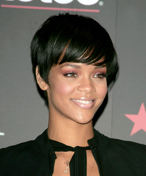 Rihanna Short Straight Casual    Hairstyle   - Black  Hair Color - Side View
