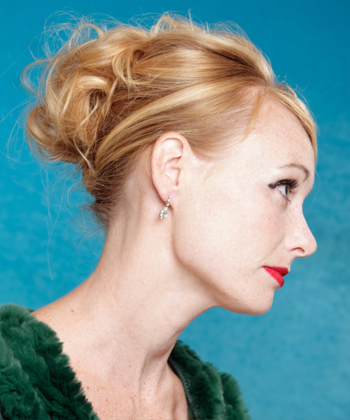 Long Curly   Dark Blonde  Updo  with Side Swept Bangs  - Side View