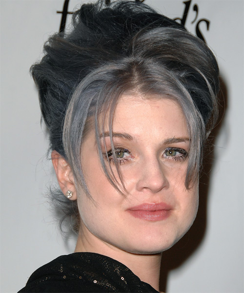 Kelly Osbourne Updo Long Straight Casual  Updo Hairstyle   - Dark Grey - Side View