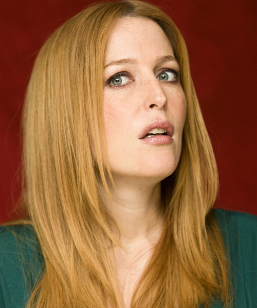 Gillian Anderson Long Straight Casual   Hairstyle   - Side View