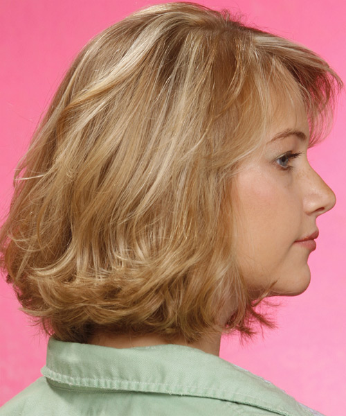 Medium Wavy Casual    Hairstyle with Side Swept Bangs  - Golden Hair Color - Side View
